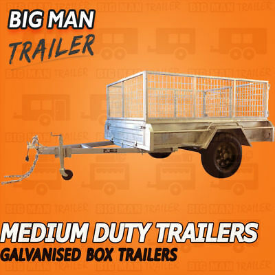 8X5 Black Wheel Single Axle Galvanised Tipper Trailer Cage Box Heavy Duty