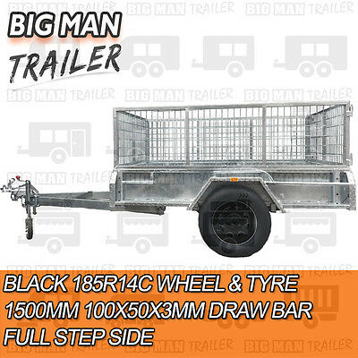 7x5 BLACK Galvanised Box Trailer with Cage 300mm Side Cheker Brake Heavy Duty