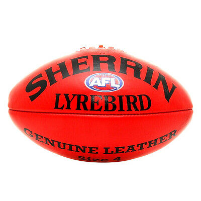 Afl Sherrin Lyrebird Red Leather Size 4  Football - Brand New
