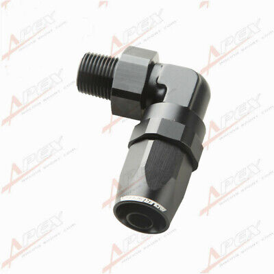 "-8AN AN-8 To 3/8"" NPT 90 Degree Swivel Hose End Fitting Adaptor Black"