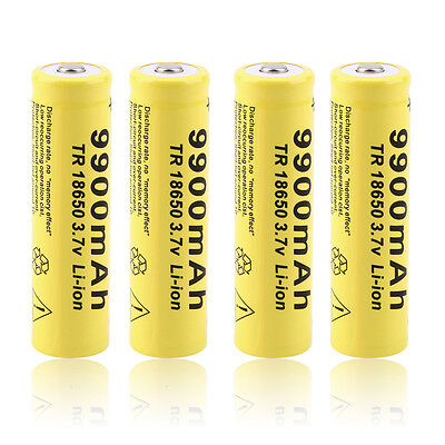 4 X 3.7V 18650 9900mah Li-ion Rechargeable Battery For LED Flashlight Torch LS