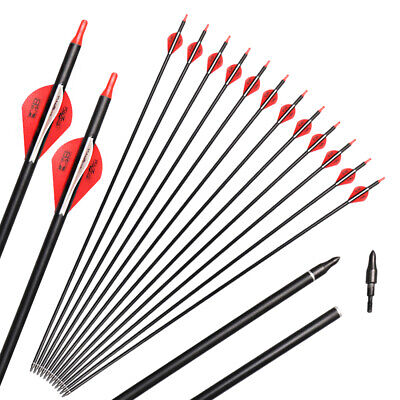 24x Toparchery Carbon Arrow Blazer Vane Field Tips Hunting Recurve Compound Bow