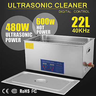 22L Liter 480W Stainless Steel Industry Heated Ultrasonic Cleaner w/Timer CAN
