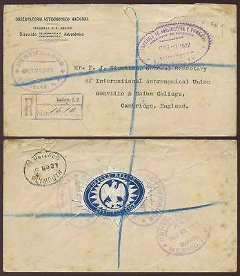 MEXICO 1927 ASTRONOMICAL OBSERVATORY ENVELOPE REGISTERED OFFICIAL to CAMBRIDGE