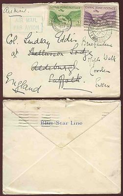 CANAL ZONE BLUE STAR LINE ENV.1933 AIRMAIL HANDSTAMP to SUFFOLK FORWARDED SUSSEX