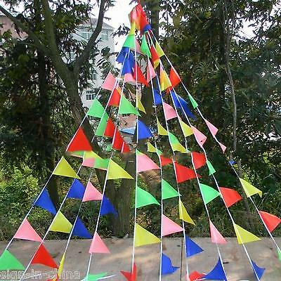 Colorful 80m Triangle Flag Pennant String Banner Festival Party Christmas Decor