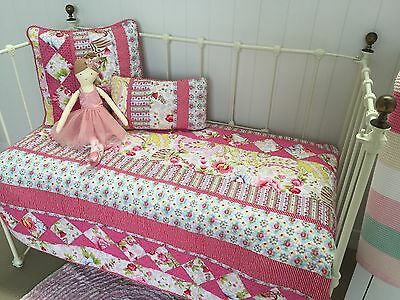 Stella 3 pce Girls Shabby Chic Cot Quilt / 2 x Cushions  Baby Nursery Set