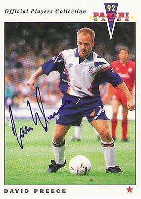 A Panini 92 card featuring & personally signed by David Preece of Luton Town.