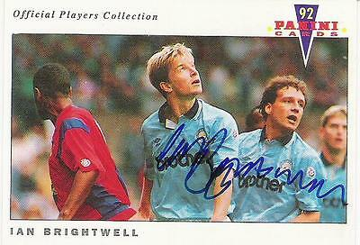 A Panini 92 card featuring & personally signed by Ian Brightwell Manchester City