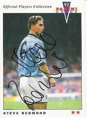 A Panini 92 card featuring & personally signed by Steve Redmond Manchester City.