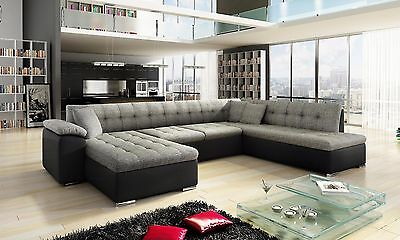 New Scafati Fabric And Leather Corner Sofa With Bed In Black Grey White Grey