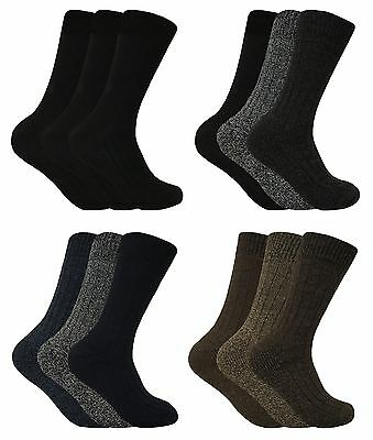 3 Pack Mens Thick Cushioned Breathable Winter Warm Wool Blend Hiking Boot Socks