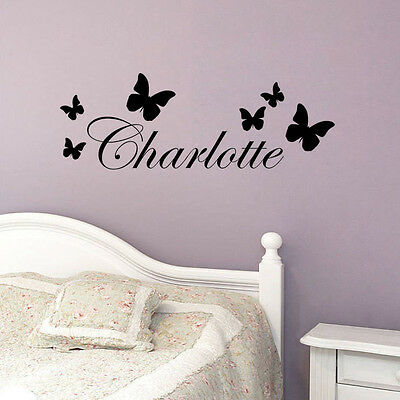 Fashion Butterfly Decor Name Vinyl Wall Sticker Kids Bedroom Art Decal