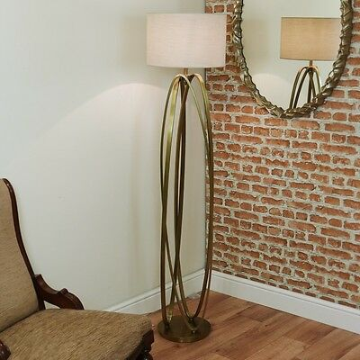 RV Astley Brisa Antiqued Brass Floor lamp, Tall Contemporary Luxury Oval Rings