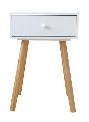 Scandinavian White and Natural Finish Bedside Drawer, Home, Bedroom, Storage