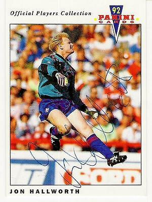 A Panini 92 card featuring & personally signed by Jon Hallworth Oldham Athletic