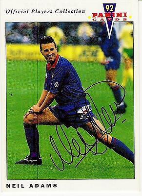 A Panini 92 card featuring & personally signed by Neil Adams of Oldham Athletic.