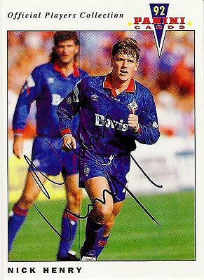 A Panini 92 card featuring & personally signed by Nick Henry Oldham Athletic