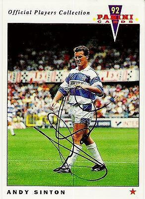 A Panini 92 card featuring & personally signed by Andy Sinton of QPR.