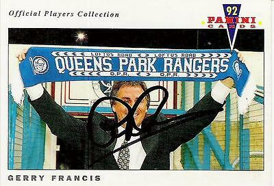 A Panini 92 card featuring & personally signed by Gerry Francis of QPR.