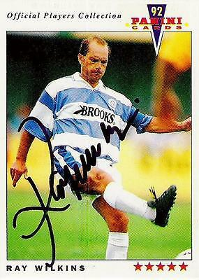 A Panini 92 card featuring & personally signed by Ray Wilkins of QPR.