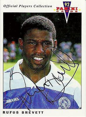 A Panini 92 card featuring & personally signed by Rufus Brevett of QPR.