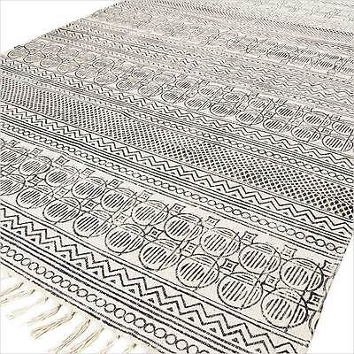 4 X 6 ft BLACK WHITE COTTON PRINTED AREA ACCENT DHURRIE RUG FLAT WEAVE WOVEN