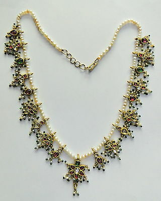 Rare! vintage antique 20k Gold jewelry gemstones pearl beads necklace