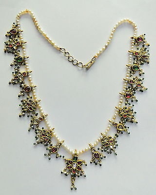 Rare! vintage antique 20k Gold jewelry gemstones & Basra pearl beads necklace