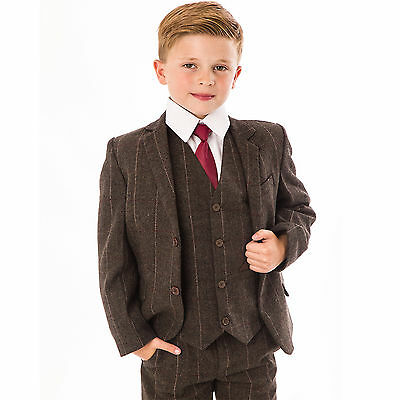 Boys Suits Wedding Suit Tweed Waistcoat Suit Page Boy Formal 5pc Party brown new