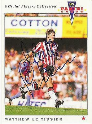 A Panini 92 card featuring & personally signed by Matthew Le Tissier Southampton