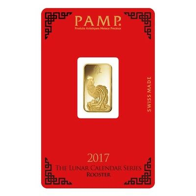 5 gram PAMP Suisse Year of the Rooster Gold Bar (In Assay)