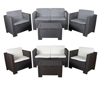 4 tlg allibert lounge set cannes sitzgruppe rattan optik gartenm bel anthrazit eur 249 90. Black Bedroom Furniture Sets. Home Design Ideas