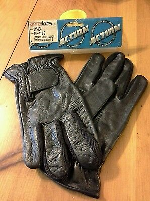 NOS LITTLEWOOD- BLACK LEATHER GLOVES SMALL, SUMMER GLOVE FreeshipUS+CAN