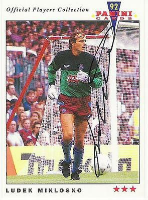 A Panini 92 card featuring & personally signed by Ludek Miklosko of West Ham U.