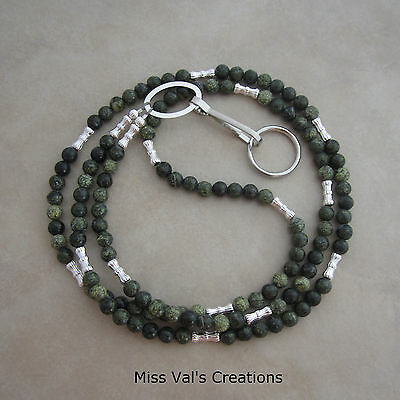 Handcrafted Russian serpentine silver lanyard ID badge key holder 32 inches