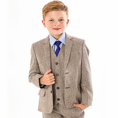 Boys Suits Wedding Suit 5pc Tweed Waistcoat Suit Page Boy Formal Party brown