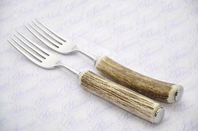 Two Genuine Stag/Antler Handle Steak Fork Made In Sheffield England
