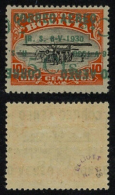 Bolivia 1930 - Air mail double surcharge - Error Variety - MH Stamp