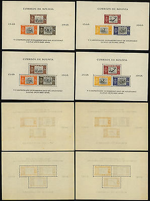 Bolivia 1951 - 8 Miniature Sheet + Imperforate - MNH Stamps