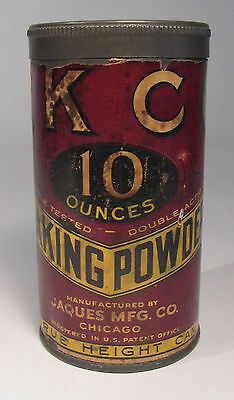 Antique K C Baking Powder Tin 10 oz. Jaques Mfg. Co Early 1900's