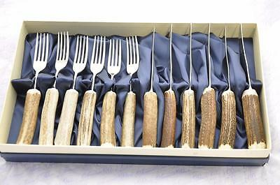 Six Stag/Antler Handle Steak Knives & Forks Boxed Made In Sheffield England