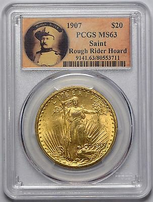 1907 $20 Saint Gaudens Double Eagle Pcgs Ms63 Rough Rider Hoard Label