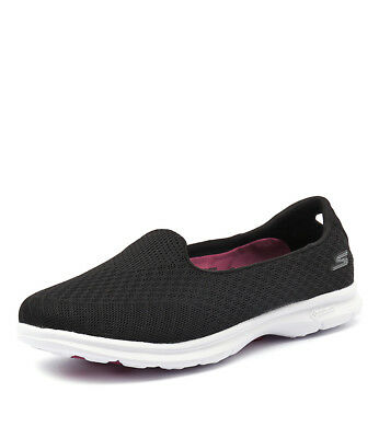 New Skechers Go Step Elated Black/White Women Shoes Casuals Flats Sneakers