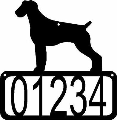 German Wirehaired Pointer Dog CUSTOM Wall Metal ADDRESS House Number Sign Plaque