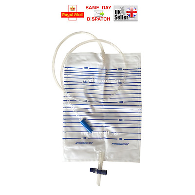 CHOICE OF QTY 2000 ml / 2 ltr. URINE COLLECTION DRAINAGE BAG STERILE FAST UK P&P
