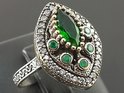 Turkish Ottoman Handmade Emerald  925 Sterling Silver Ring Size 9.75 R-1180+Gift