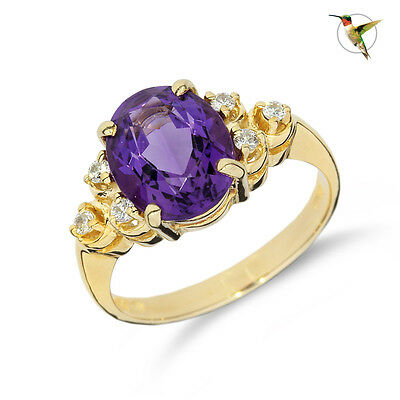 NEW 3.16ct Amethyst Oval Solitaire and Diamond Ring 14k Solid Yellow Gold #2564