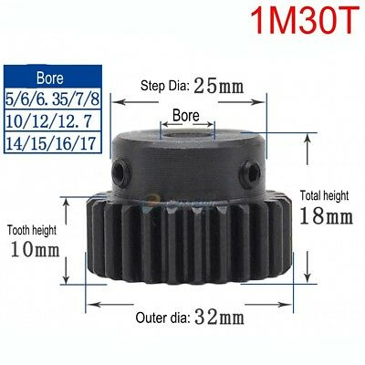 45# Steel Motor Spur Pinion Gear 1Mod 30T Outer Diameter 32mm Bore 5-17mm Qty 1
