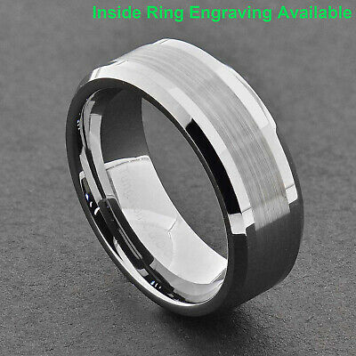 8mm Brushed Center silver Tungsten Carbide ring Wedding Band Mens Jewelry